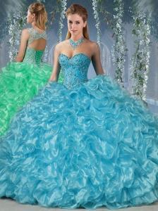 New Arrival Beaded and Ruffled Big Puffy Quinceanera Dress in Aqua Blue