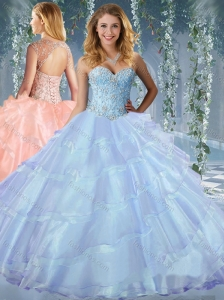 New Arrival Beaded and Ruffled Layers Quinceanera Dress with Detachable Straps