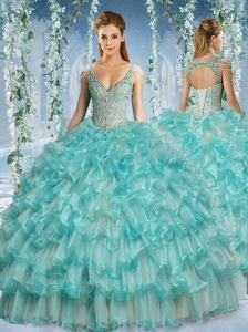 New Arrival Deep V Neck Big Puffy Quinceanera Dress with Beaded Decorated Cap Sleeves