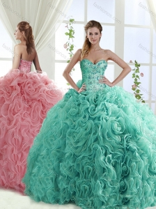 New Arrival Gorgeous Beaded Brush Train Quinceanera Dresses with Rolling Flower