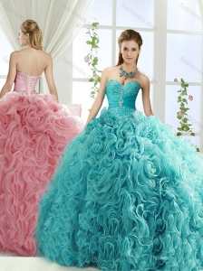 Perfect Beaded and Applique Big Puffy Detachable Quinceanera Dresses in Aqua Blue