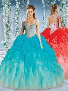 Perfect Deep V Neck Big Puffy Quinceanera Dress with Beaded Decorated Cap Sleeves