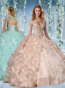 Popular Beaded Decorated Cap Sleeves Quinceanera Dress with Deep V Neck