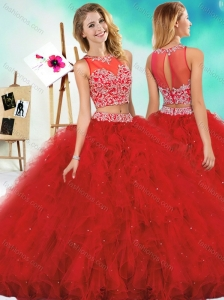 See Through Two Piece Red Perfect Quinceanera Dress with Beading and Ruffles