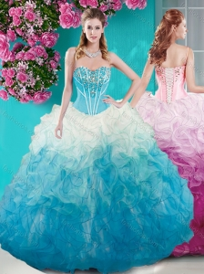 Beautiful Beaded Bust White and Blue 15 Quinceanera Dress in Organza