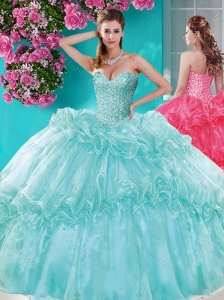 Exquisite Beaded and Pick Ups 15 Quinceanera Gown with Really Puffy