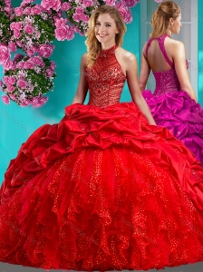 Feminine Halter Top Brush Train 15 Quinceanera Dress with Beading and Ruffles