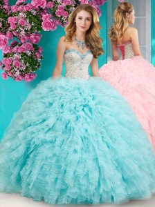 Feminine Really Puffy Floor Length 15 Quinceanera Dress with Beading and Ruffles