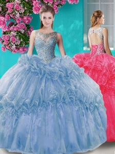 Puffy Skirt See Through Beaded Bodice 15 Quinceanera Dress with Scoop