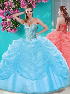 Discount Beaded and Pick Ups Big Puffy Quinceanera Dress in Light Blue