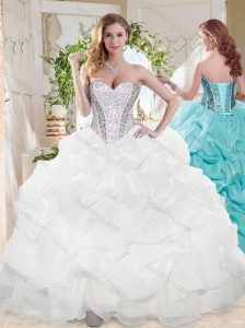 Discount Ball Gown Sweetheart Organza Beading and Bubbles Quinceanera Dress in White