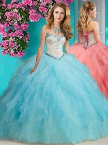 Discount Beaded and Ruffled Organza Quinceanera Gown with Big Puffy