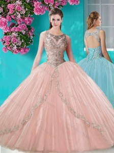 Discount See Through Scoop Organza Quinceanera Dress with Beading