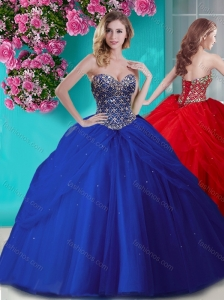Gorgeous Beaded and Rhinestoned Big Puffy Quinceanera Dress in Blue