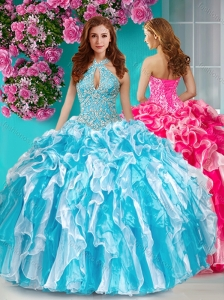 New Arrival Beaded and Ruffled Halter Top Quinceanera Dress in Baby Blue and White