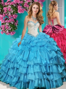 New Arrival Beaded and Ruffled Layers Quinceanera Dress with Brush Train
