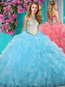 New Arrival Really Puffy Light Blue Quinceanera Gown with Beading and Ruffles