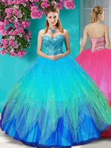 Perfect Beaded Rainbow Quinceanera Dress with Really Puffy