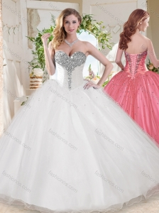 Elegant Ball Gown Sweetheart Beaded Organza Quinceanera Dress in White