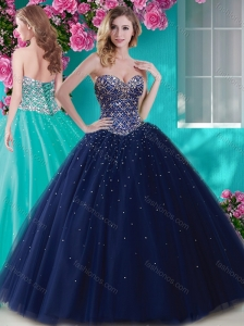 Perfect Big Puffy Tulle Quinceanera Dress with Beading  and Rhinestone