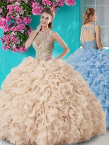 Perfect See Through Beaded Scoop Quinceanera Gown in Champagne