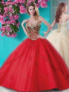 Popular Applique and Rhinestoned Big Puffy Quinceanera Dress in Red