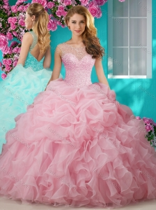 Popular Beaded and Ruffled Big Puffy Quinceanera Gown with See Through Scoop
