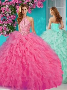 Popular Halter Top Tulle Rose Pink Quinceanera Dress with Beading and Ruffles