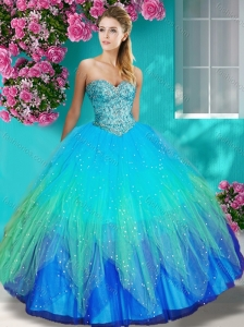 Popular Really Puffy Beaded and Appliques  Quinceanera Dress in Colorful