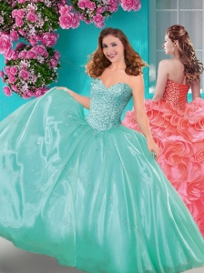 Popular Really Puffy Beaded and Ruffled Quinceanera Dress with Floor Length