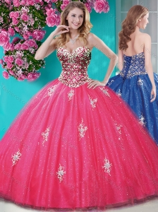 Romantic Beaded and Appliques Tulle Quinceanera Dresseswith Really Puffy