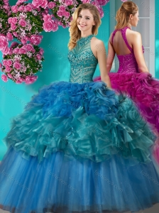 Unique Really Puffy Beaded and Ruffled Quinceanera Dresses with  Halter Top
