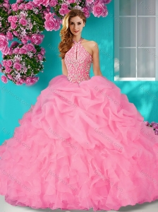 Perfect Halter Top Beaded and Ruffled  Quinceanera Dress with Brush Train