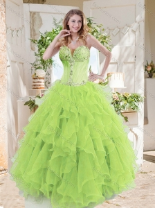 A-line Beaded and Ruffed Quinceanera Dresses in Spring Green