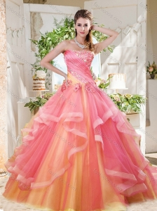 Fashionable Rainbow Big Puffy Quinceanera Dress with Ruffles Layers and Beading
