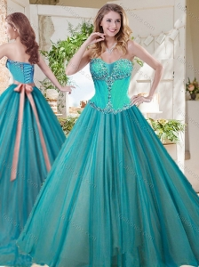 Gorgeous A Line Brush Train Quinceanera Dresses with Beading and Sash