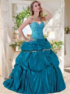 Lovely A Line Brush Train Taffeta Quinceanera Dresses with Beading and Bubbles