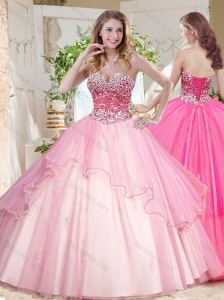 Lovely Ruffled Layers Quinceanera Dress with Beaded Bodice in Pink
