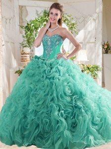 New Arrivals Rolling Flowers Mint Quinceanera Dress with Beading