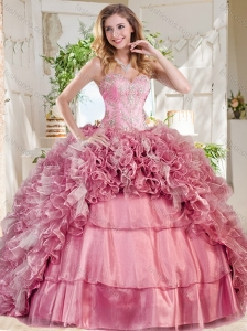 New Style Puffy Skirt Pink Quinceanera Dress with Beading and Ruffles