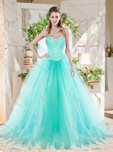 Romantic Beaded Bodice and Applique Tulle Quinceanera Dress in Mint