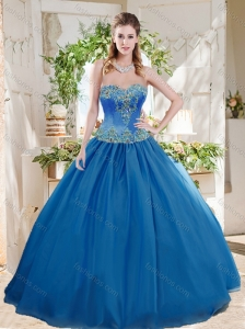 Romantic Big Puffy Blue Quinceanera Dress with Beading and Appliques