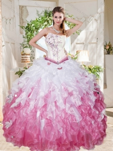Wonderful Asymmetrical Big Puffy Quinceanera Dress with Beading and Ruffles