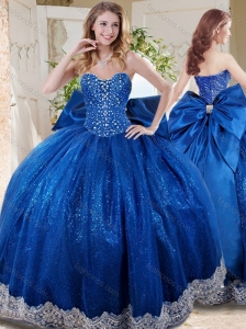 Wonderful Beaded and Applique Big Puffy Quinceanera Dress with Bowknot