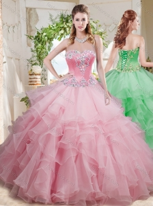 Wonderful Beaded and Ruffled Layer Big Puffy Quinceanera Dress in Baby Pink