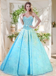 Beautiful A Line Aqua Blue Quinceanera Dress with Beading and Appliques