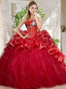 Discount Tulle Beaded and Ruffled Quinceanera Dress in Red