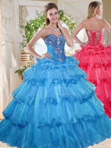 Elegant Puffy Skirt Beaded and Ruffled Layers Quinceanera Dress