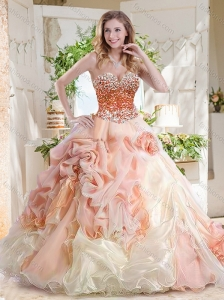 Fashionable Beaded and Bubble Quinceanera Dress in Peach and White