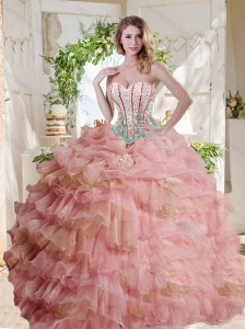 Fashionable Visible Boning Beaded Pink Quinceanera Dress in Organza
